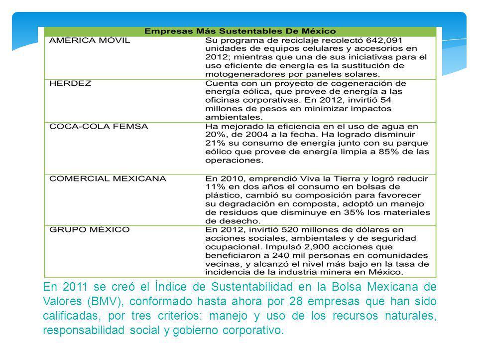 En 2011 se creó el Índice de Sustentabilidad en la Bolsa Mexicana de Valores (BMV), conformado hasta ahora por 28 empresas que han sido calificadas, por tres criterios: manejo y uso de los recursos naturales, responsabilidad social y gobierno corporativo.
