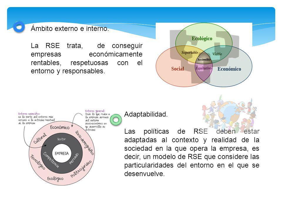 Ámbito externo e interno. La RSE trata, de conseguir empresas económicamente rentables, respetuosas con el entorno y responsables. Adaptabilidad. Las