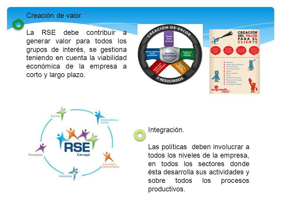 Creación de valor. La RSE debe contribuir a generar valor para todos los grupos de interés, se gestiona teniendo en cuenta la viabilidad económica de