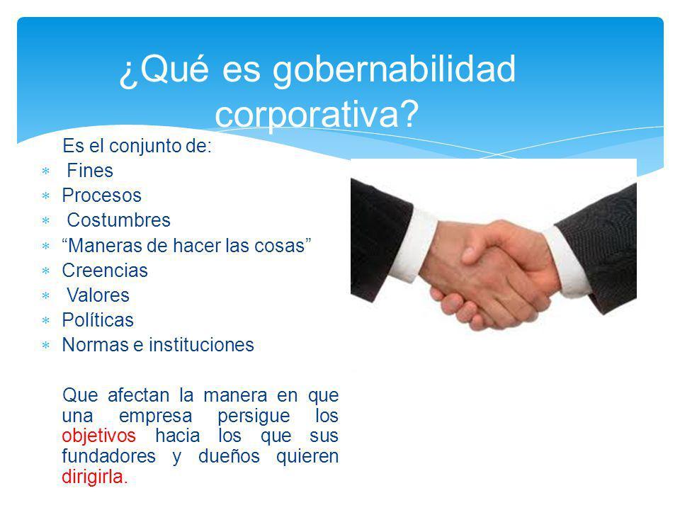 ¿Qué es gobernabilidad corporativa? Es el conjunto de: Fines Procesos Costumbres Maneras de hacer las cosas Creencias Valores Políticas Normas e insti