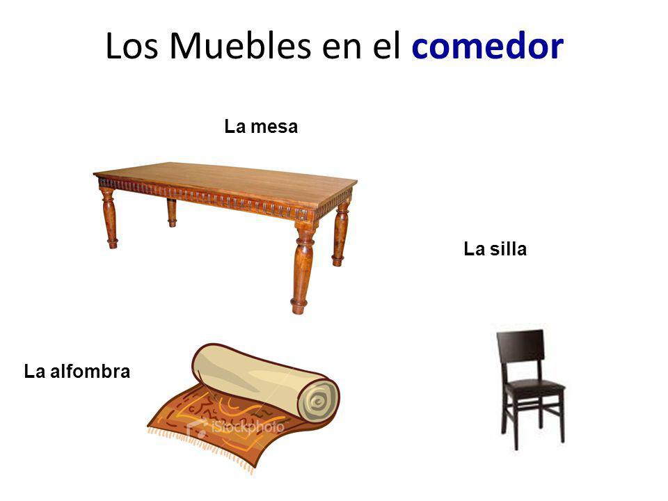 Los Muebles en el comedor La alfombra La mesa La silla