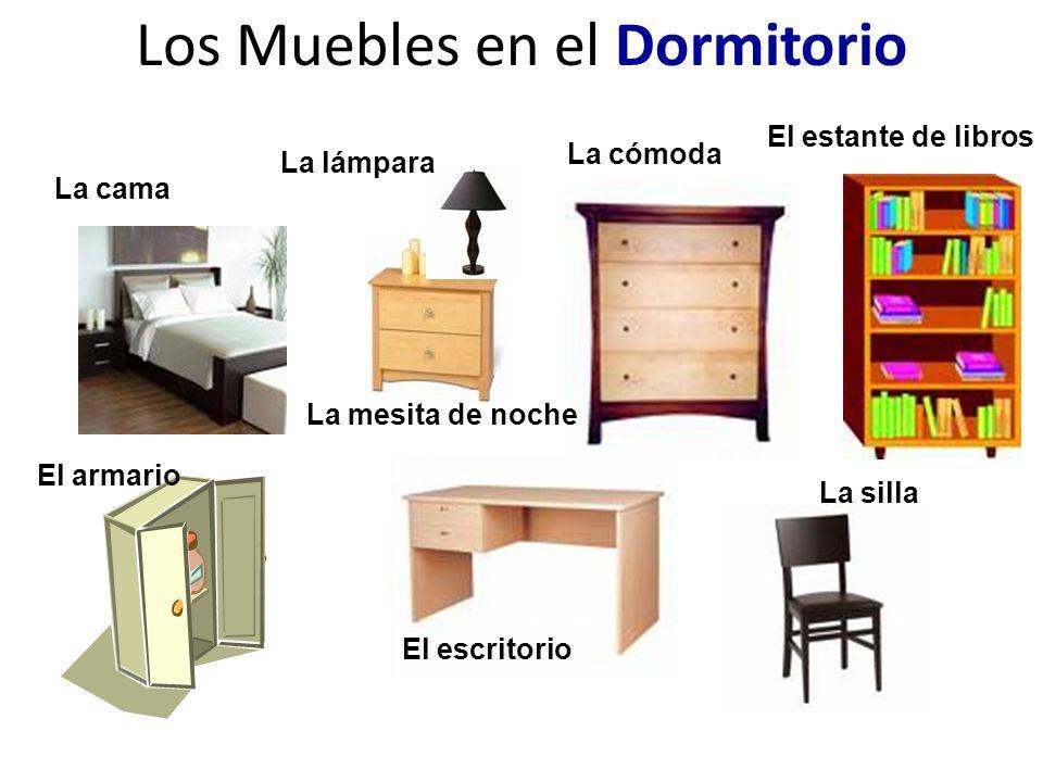 Los Muebles en el Dormitorio La cama La silla El escritorio El armario La cómoda La mesita de noche La lámpara El estante de libros