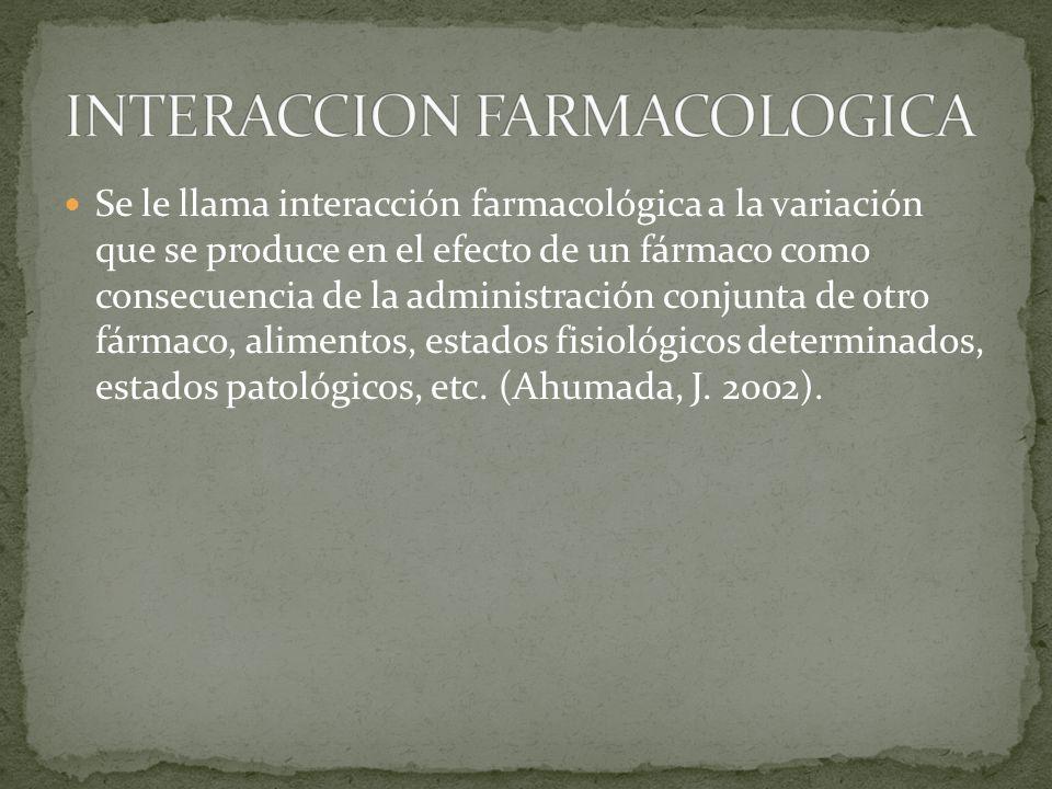 Se le llama interacción farmacológica a la variación que se produce en el efecto de un fármaco como consecuencia de la administración conjunta de otro fármaco, alimentos, estados fisiológicos determinados, estados patológicos, etc.