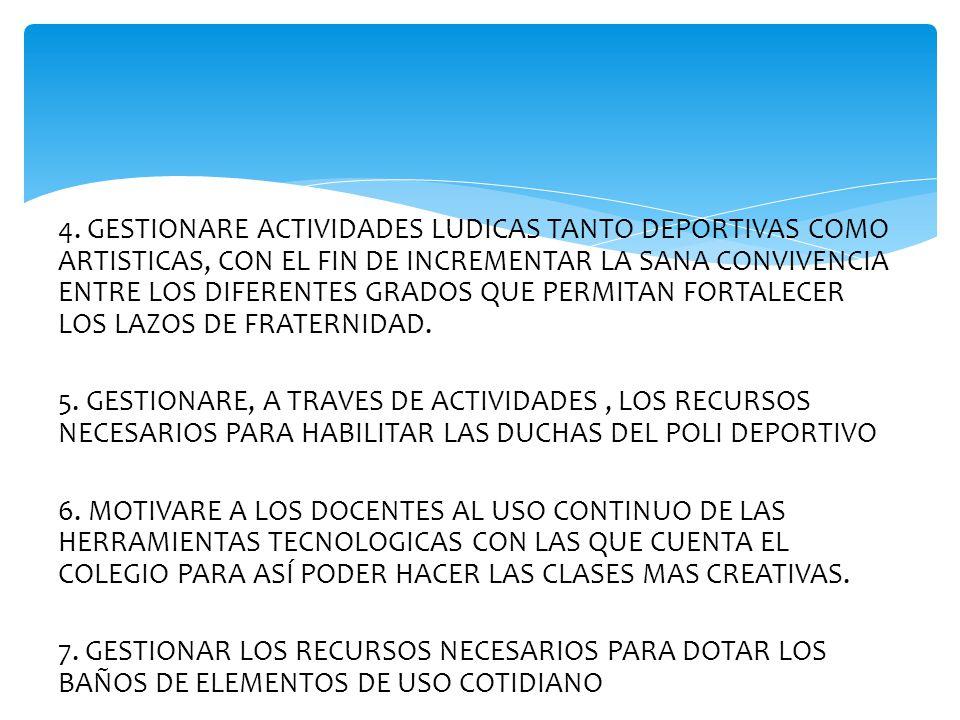4. GESTIONARE ACTIVIDADES LUDICAS TANTO DEPORTIVAS COMO ARTISTICAS, CON EL FIN DE INCREMENTAR LA SANA CONVIVENCIA ENTRE LOS DIFERENTES GRADOS QUE PERM
