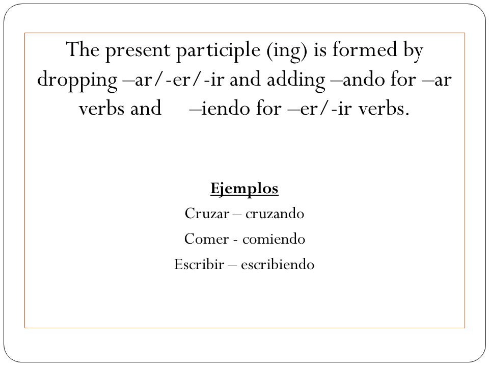 The present participle (ing) is formed by dropping –ar/-er/-ir and adding –ando for –ar verbs and –iendo for –er/-ir verbs.