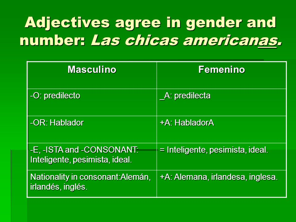 Adjectives agree in gender and number: Las chicas americanas.