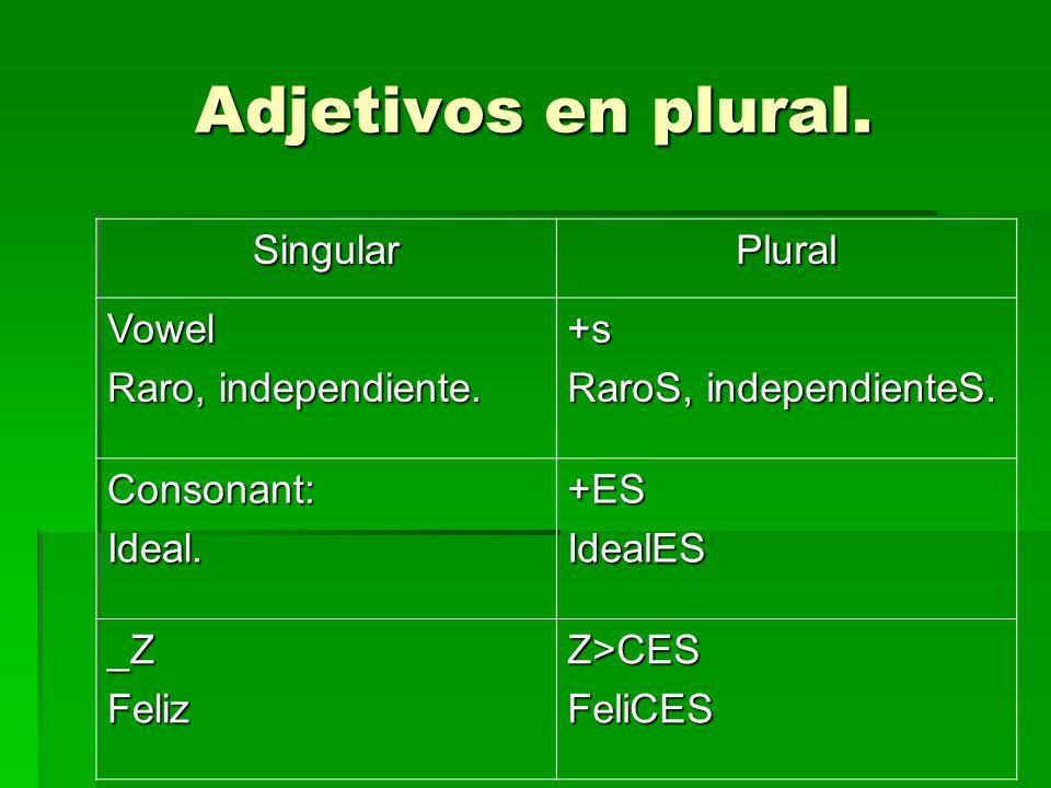 Adjetivos en plural. SingularPlural Vowel Raro, independiente.