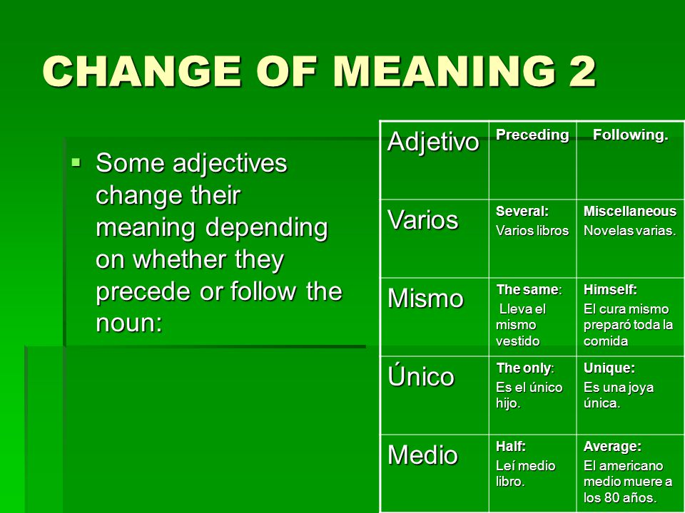 CHANGE OF MEANING 2 Some adjectives change their meaning depending on whether they precede or follow the noun: Some adjectives change their meaning depending on whether they precede or follow the noun: AdjetivoPrecedingFollowing.