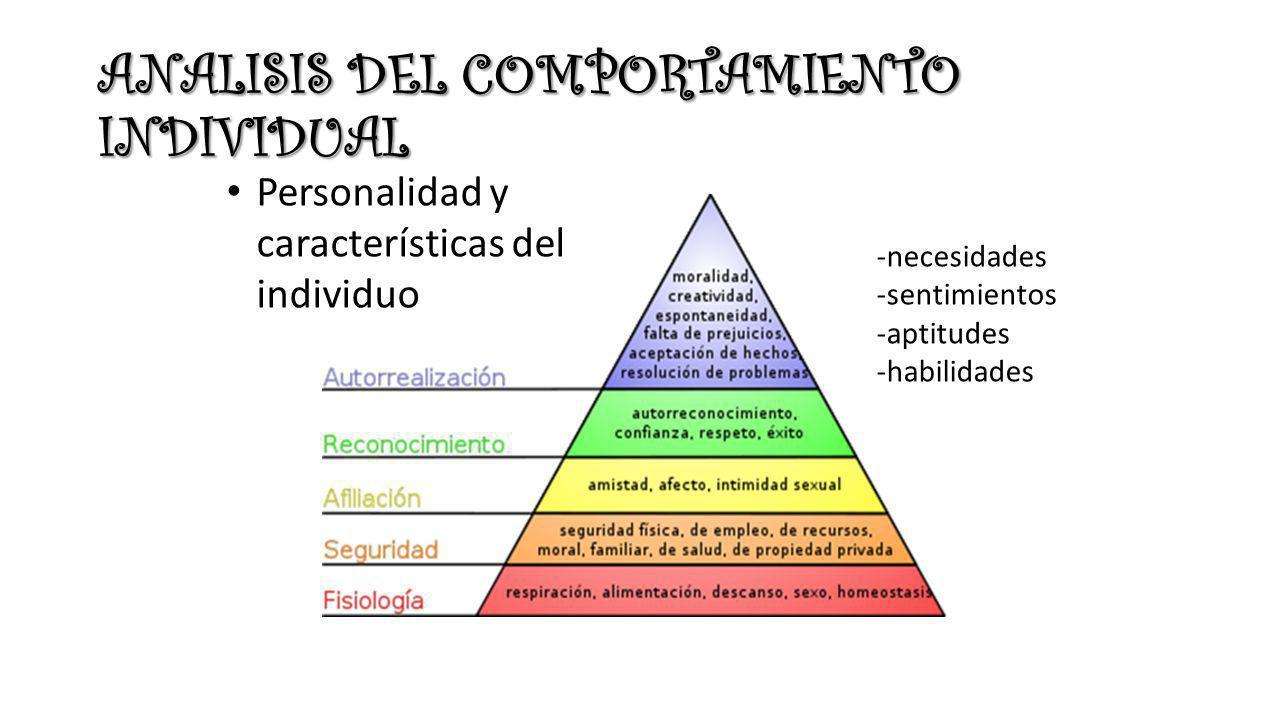 ANALISIS DEL COMPORTAMIENTO INDIVIDUAL Personalidad y características del individuo -necesidades -sentimientos -aptitudes -habilidades