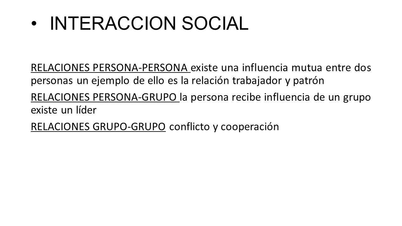 INTERACCION SOCIAL RELACIONES PERSONA-PERSONA existe una influencia mutua entre dos personas un ejemplo de ello es la relación trabajador y patrón RELACIONES PERSONA-GRUPO la persona recibe influencia de un grupo existe un líder RELACIONES GRUPO-GRUPO conflicto y cooperación