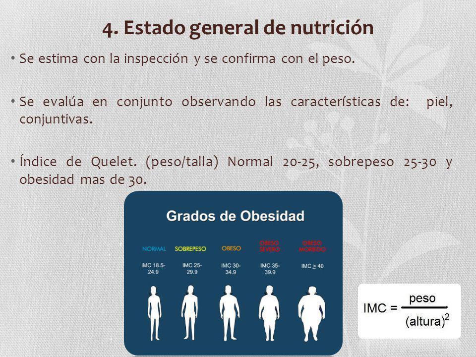 4. Estado general de nutrición Se estima con la inspección y se confirma con el peso. Se evalúa en conjunto observando las características de: piel, c