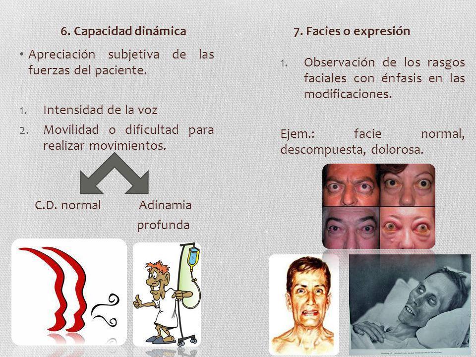 Apreciación subjetiva de las fuerzas del paciente. 1.Intensidad de la voz 2.Movilidad o dificultad para realizar movimientos. C.D. normal Adinamia pro