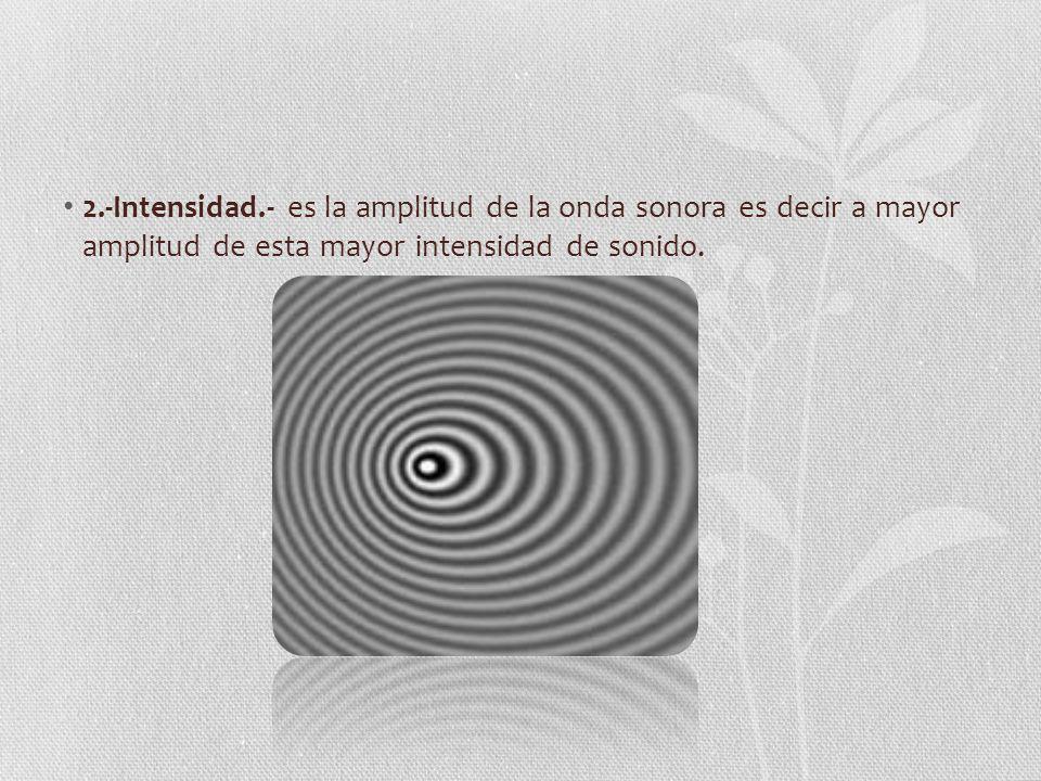 2.-Intensidad.- es la amplitud de la onda sonora es decir a mayor amplitud de esta mayor intensidad de sonido.