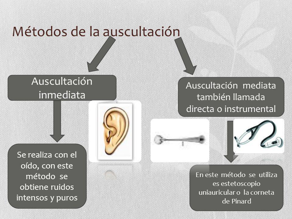 Métodos de la auscultación En este método se utiliza es estetoscopio uniauricular o la corneta de Pinard Auscultación mediata también llamada directa