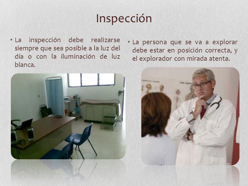 Inspección La inspección debe realizarse siempre que sea posible a la luz del día o con la iluminación de luz blanca. La persona que se va a explorar