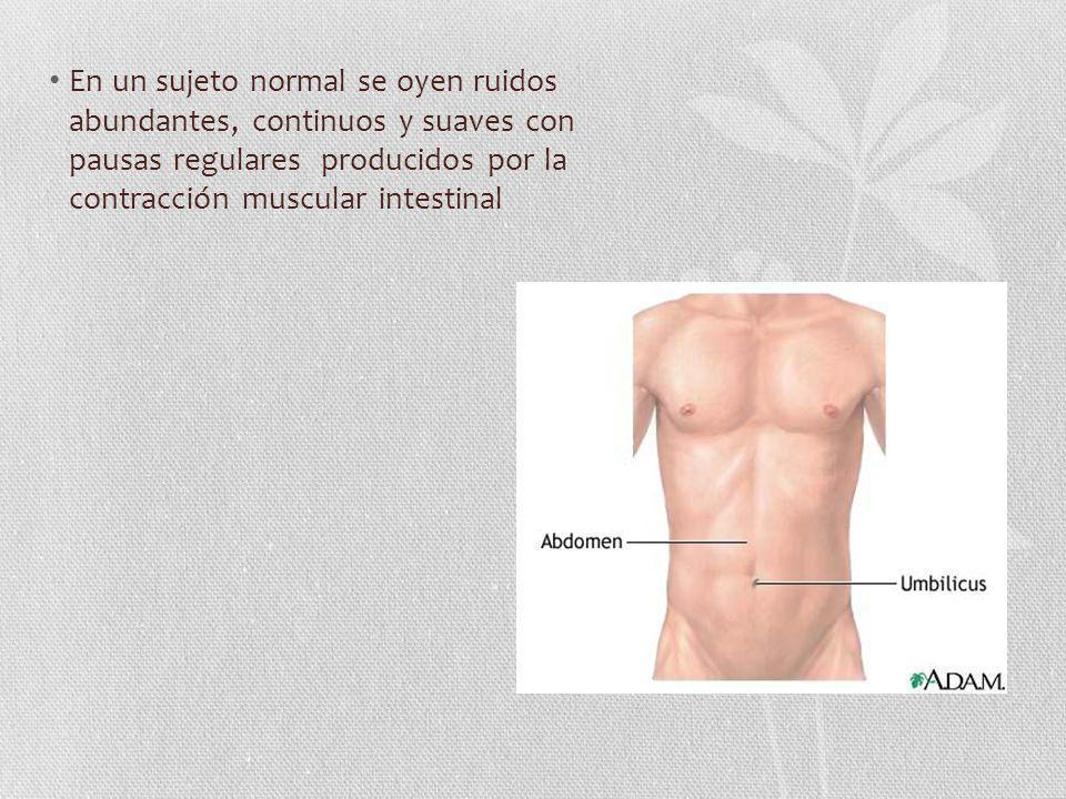 En un sujeto normal se oyen ruidos abundantes, continuos y suaves con pausas regulares producidos por la contracción muscular intestinal