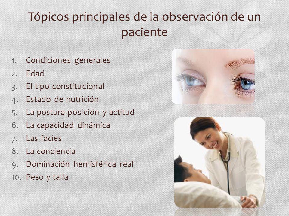 Tópicos principales de la observación de un paciente 1.Condiciones generales 2.Edad 3.El tipo constitucional 4.Estado de nutrición 5.La postura-posici