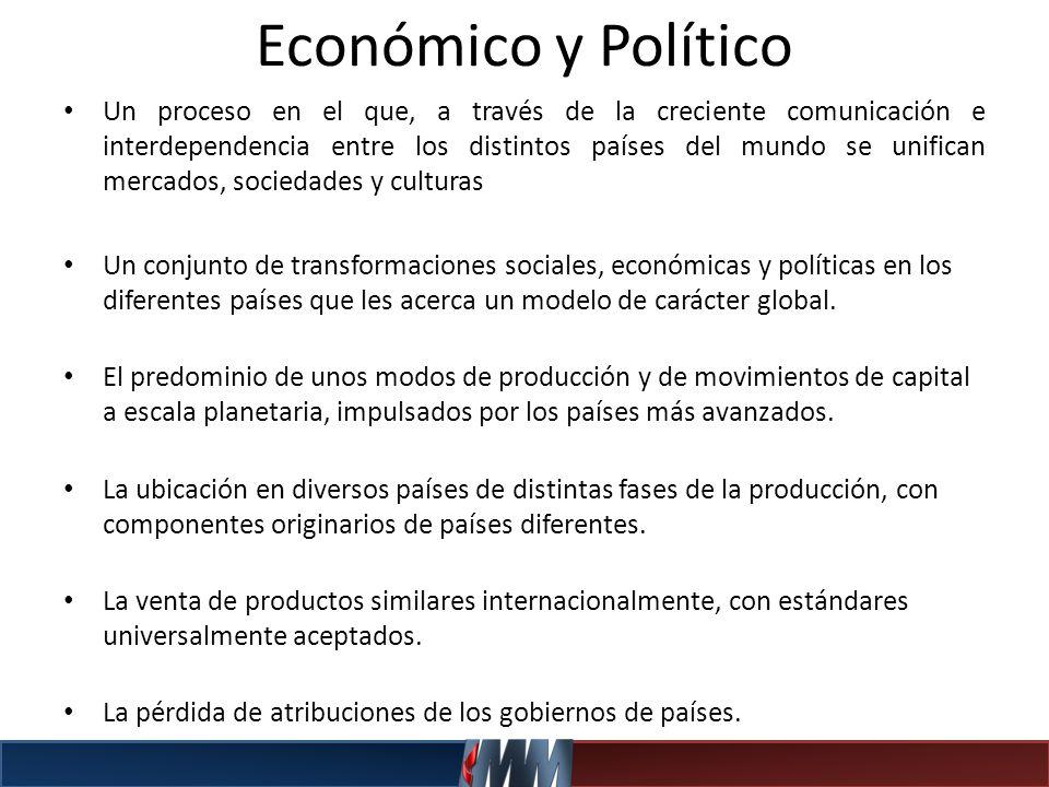 Económico y Político Un proceso en el que, a través de la creciente comunicación e interdependencia entre los distintos países del mundo se unifican m