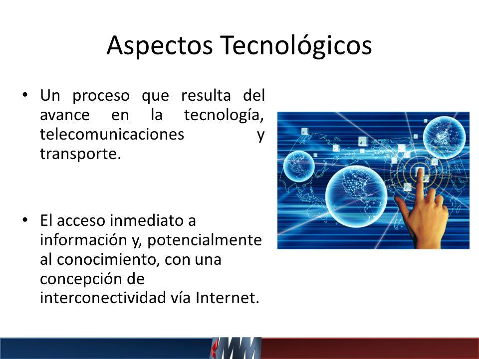 Aspectos Tecnológicos Un proceso que resulta del avance en la tecnología, telecomunicaciones y transporte. El acceso inmediato a información y, potenc