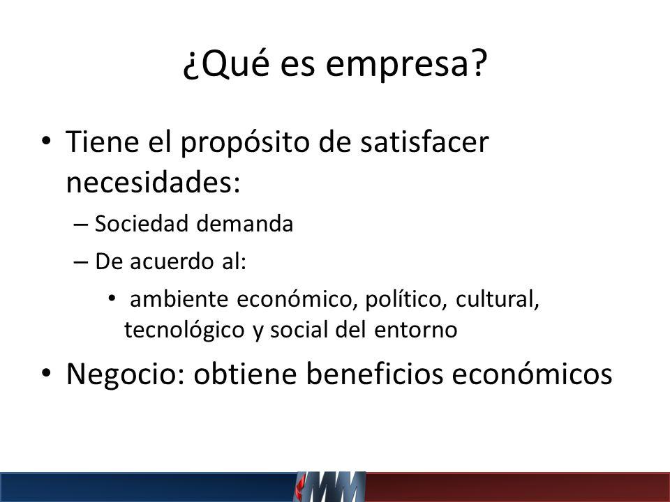 ¿Qué es empresa? Tiene el propósito de satisfacer necesidades: – Sociedad demanda – De acuerdo al: ambiente económico, político, cultural, tecnológico