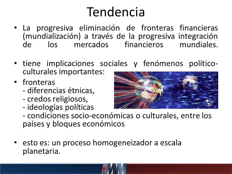 Tendencia La progresiva eliminación de fronteras financieras (mundialización) a través de la progresiva integración de los mercados financieros mundia