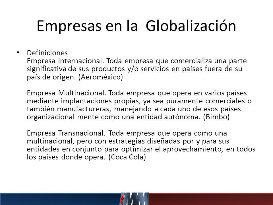 Empresas en la Globalización Definiciones Empresa Internacional. Toda empresa que comercializa una parte significativa de sus productos y/o servicios