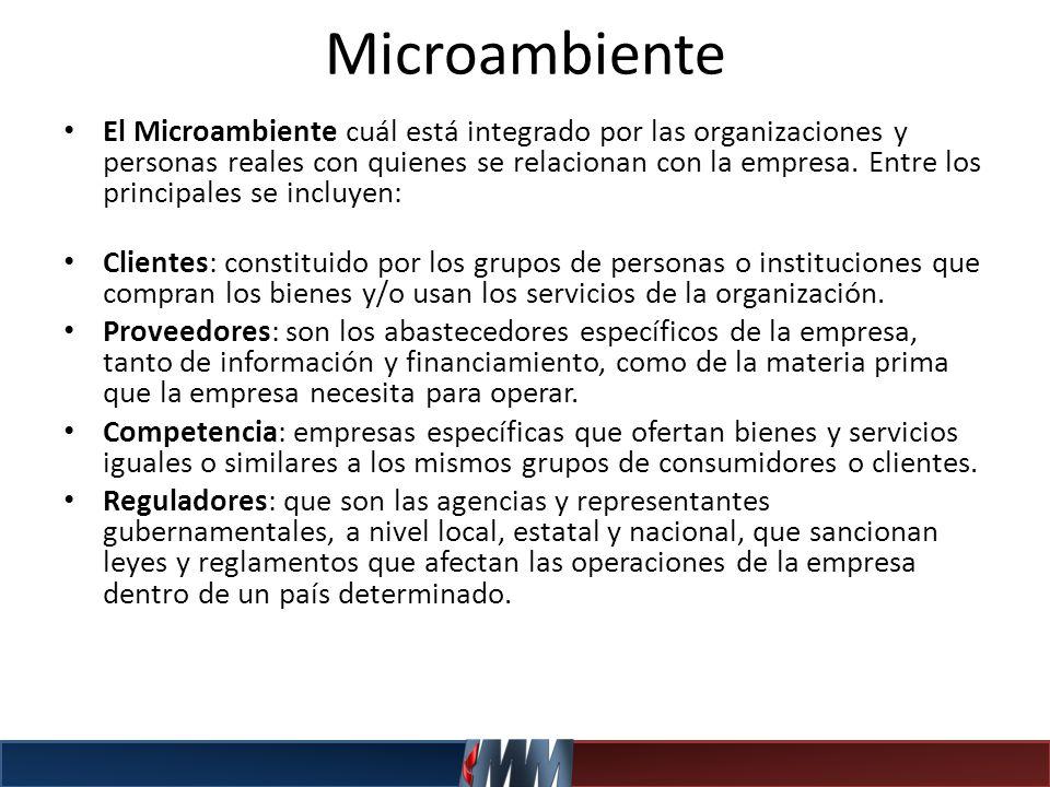 Microambiente El Microambiente cuál está integrado por las organizaciones y personas reales con quienes se relacionan con la empresa. Entre los princi