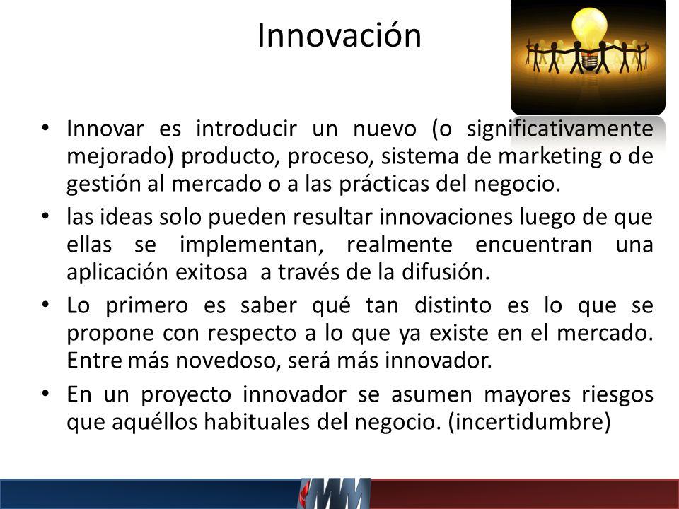 Innovar es introducir un nuevo (o significativamente mejorado) producto, proceso, sistema de marketing o de gestión al mercado o a las prácticas del n