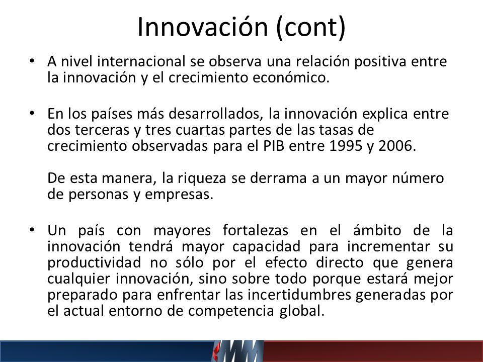 Innovación (cont) A nivel internacional se observa una relación positiva entre la innovación y el crecimiento económico. En los países más desarrollad