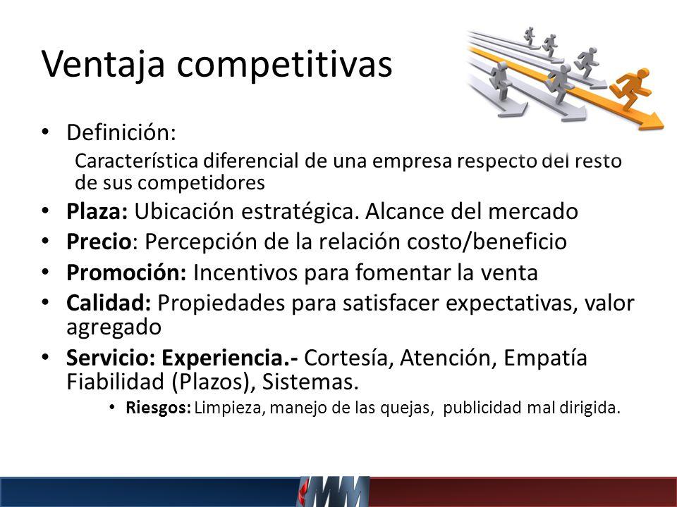 Ventaja competitivas Definición: Característica diferencial de una empresa respecto del resto de sus competidores Plaza: Ubicación estratégica. Alcanc