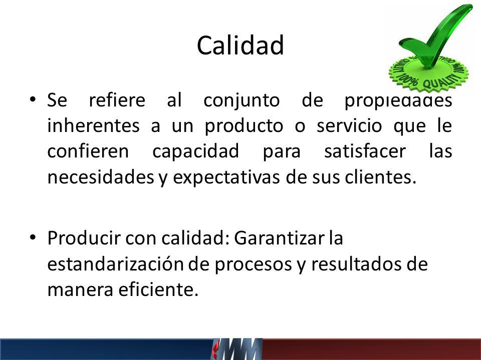 Calidad Se refiere al conjunto de propiedades inherentes a un producto o servicio que le confieren capacidad para satisfacer las necesidades y expecta