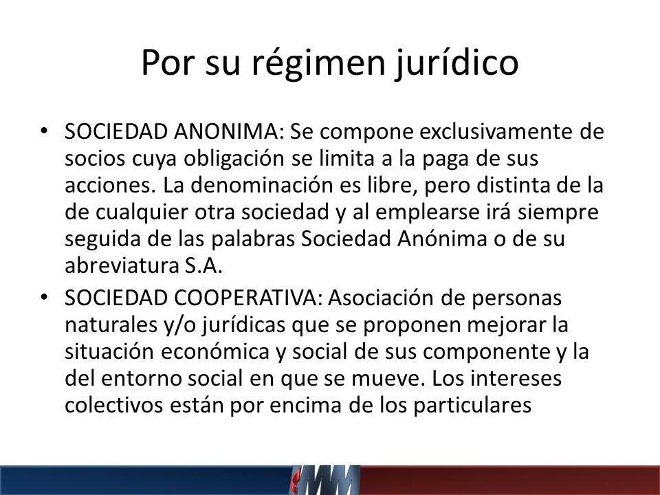 Por su régimen jurídico SOCIEDAD ANONIMA: Se compone exclusivamente de socios cuya obligación se limita a la paga de sus acciones. La denominación es