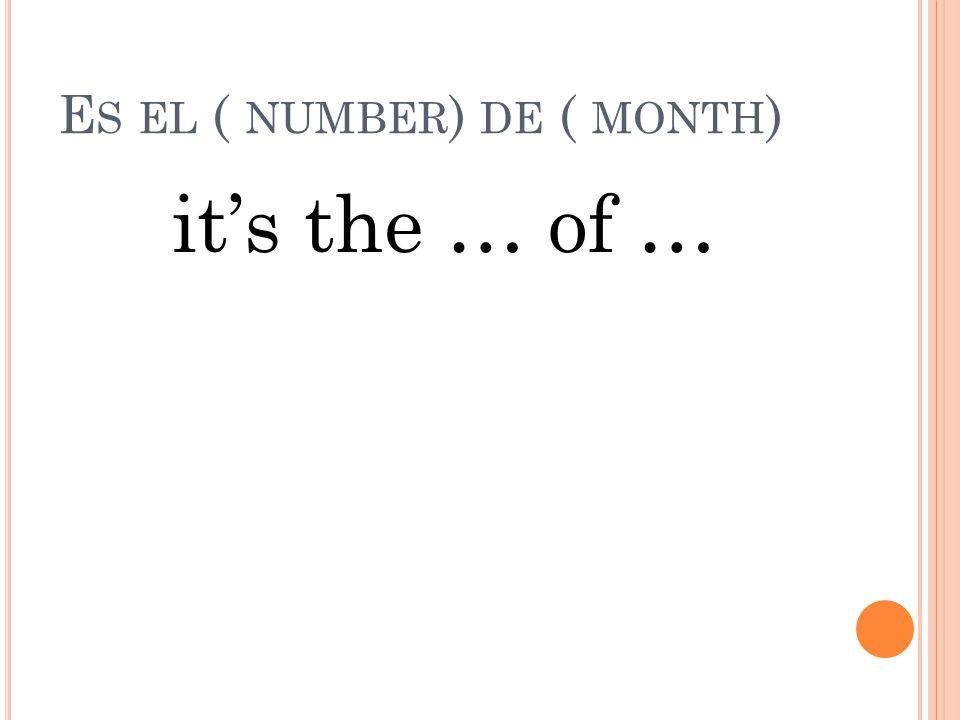 ¿ CUÁL ES LA FECHA ? What is the date?