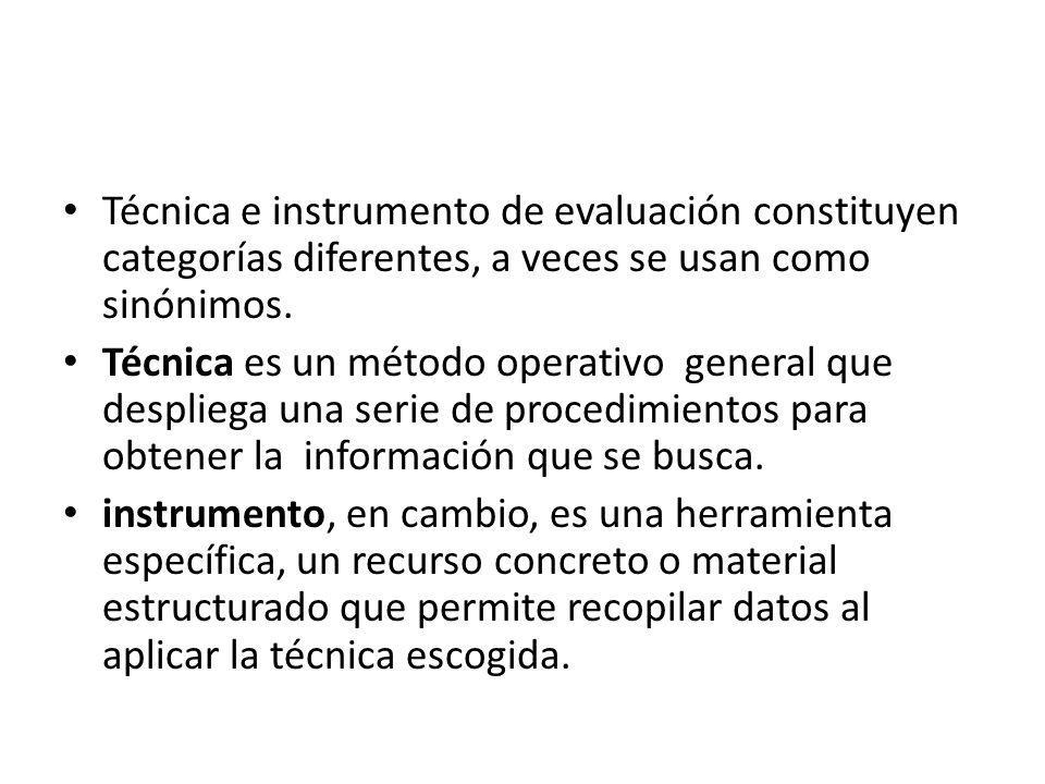 Técnica e instrumento de evaluación constituyen categorías diferentes, a veces se usan como sinónimos. Técnica es un método operativo general que desp