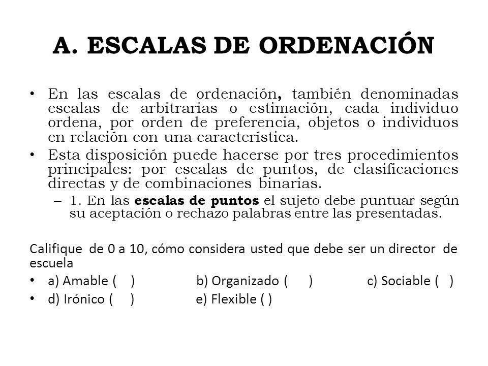 A. ESCALAS DE ORDENACIÓN En las escalas de ordenación, también denominadas escalas de arbitrarias o estimación, cada individuo ordena, por orden de pr