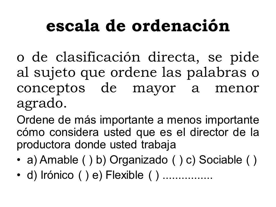 escala de ordenación o de clasificación directa, se pide al sujeto que ordene las palabras o conceptos de mayor a menor agrado. Ordene de más importan