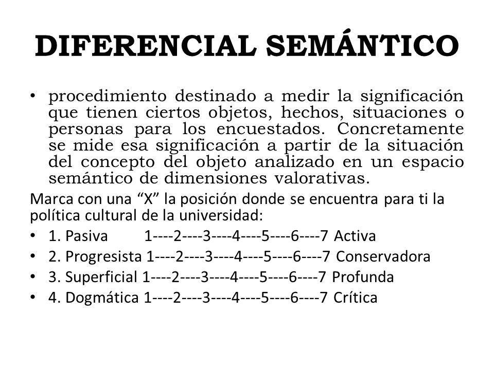 DIFERENCIAL SEMÁNTICO procedimiento destinado a medir la significación que tienen ciertos objetos, hechos, situaciones o personas para los encuestados