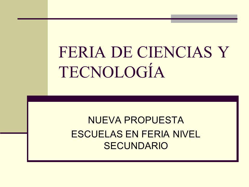 FERIA DE CIENCIAS Y TECNOLOGÍA NUEVA PROPUESTA ESCUELAS EN FERIA NIVEL SECUNDARIO