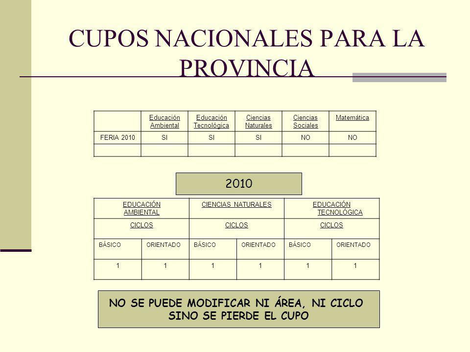 CUPOS NACIONALES PARA LA PROVINCIA Educación Ambiental Educación Tecnológica Ciencias Naturales Ciencias Sociales Matemática FERIA 2010SI NO EDUCACIÓN