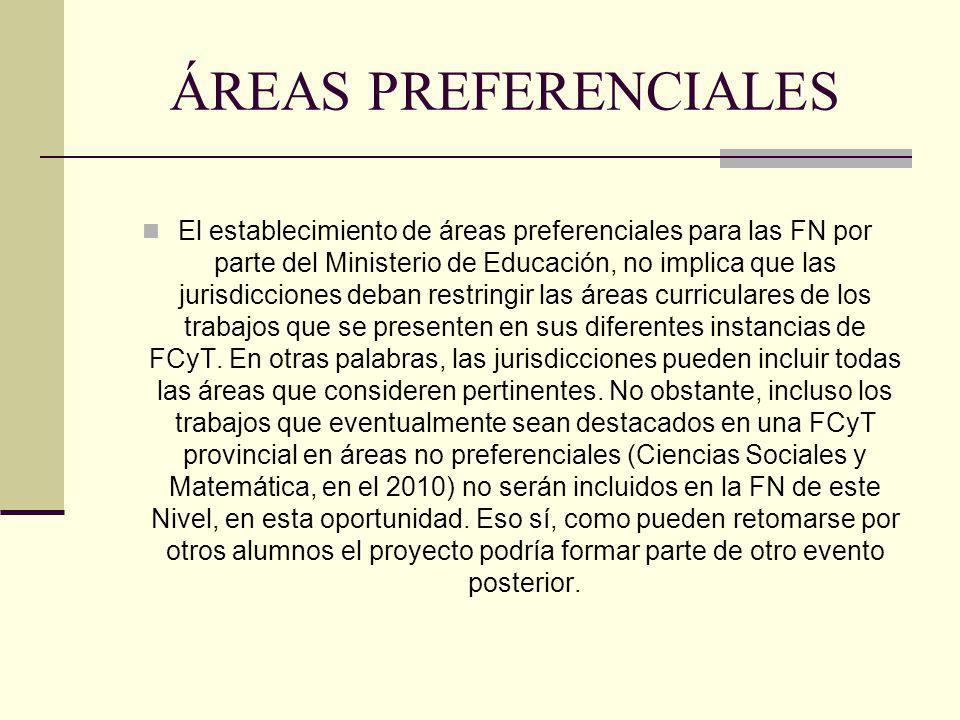 ÁREAS PREFERENCIALES El establecimiento de áreas preferenciales para las FN por parte del Ministerio de Educación, no implica que las jurisdicciones d
