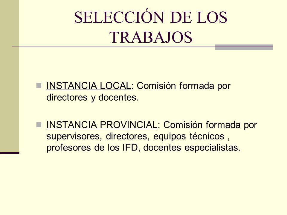 SELECCIÓN DE LOS TRABAJOS INSTANCIA LOCAL: Comisión formada por directores y docentes. INSTANCIA PROVINCIAL: Comisión formada por supervisores, direct