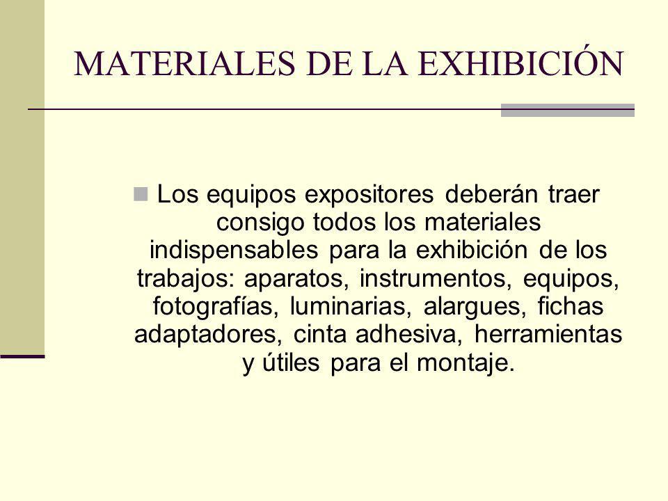 MATERIALES DE LA EXHIBICIÓN Los equipos expositores deberán traer consigo todos los materiales indispensables para la exhibición de los trabajos: apar
