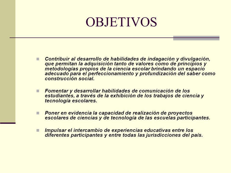 OBJETIVOS Contribuir al desarrollo de habilidades de indagación y divulgación, que permitan la adquisición tanto de valores como de principios y metod