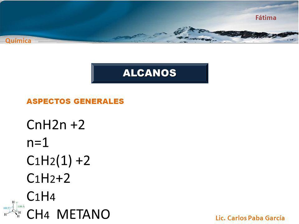 Química Fátima Lic. Carlos Paba García ALCANOS ASPECTOS GENERALES CnH2n +2 n=1 C 1 H 2 (1) +2 C 1 H 2 +2 C 1 H 4 CH 4 METANO