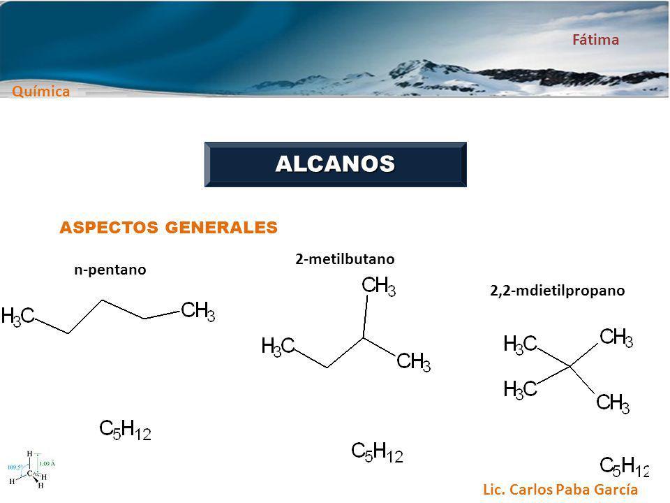 Química Fátima Lic. Carlos Paba García ALCANOS ASPECTOS GENERALES n-pentano 2-metilbutano 2,2-mdietilpropano