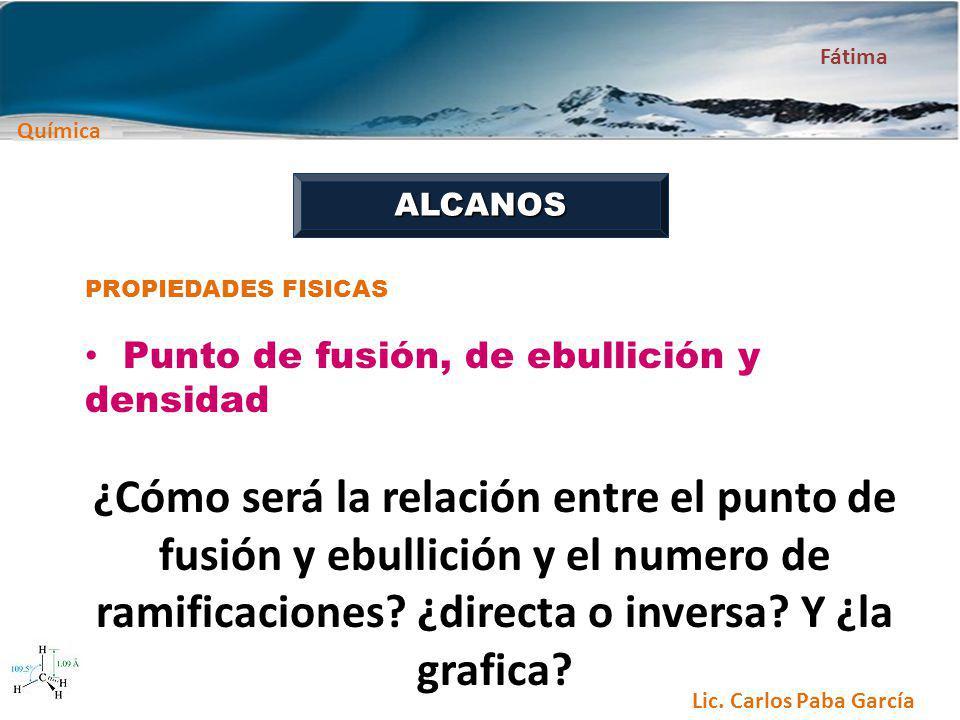 Química Fátima Lic. Carlos Paba García ALCANOS PROPIEDADES FISICAS Punto de fusión, de ebullición y densidad ¿Cómo será la relación entre el punto de