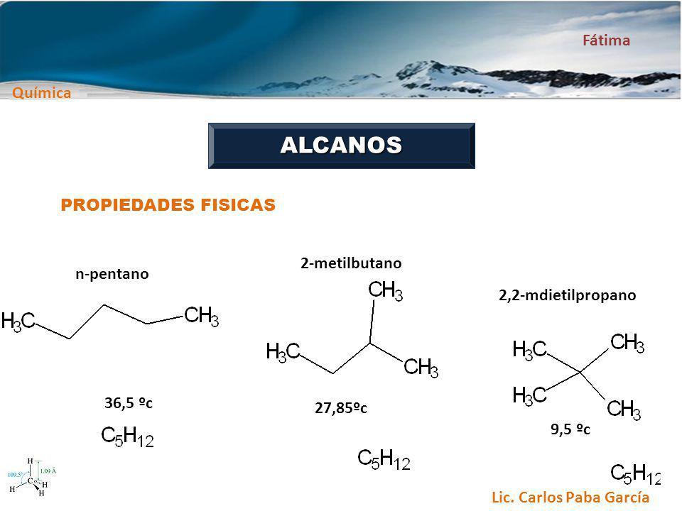 Química Fátima Lic. Carlos Paba García ALCANOS PROPIEDADES FISICAS n-pentano 2-metilbutano 2,2-mdietilpropano 27,85ºc 36,5 ºc 9,5 ºc