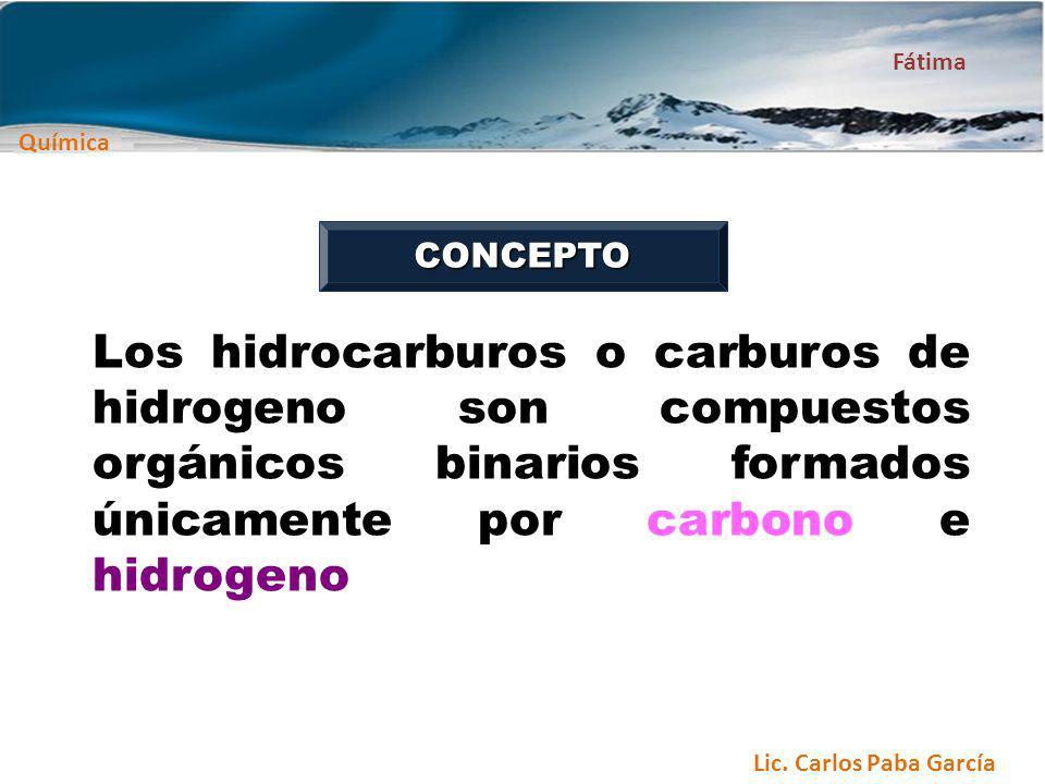 Química Fátima Lic. Carlos Paba García Los hidrocarburos o carburos de hidrogeno son compuestos orgánicos binarios formados únicamente por carbono e h