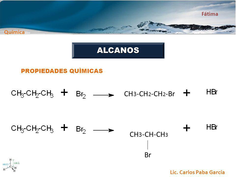 Química Fátima Lic. Carlos Paba García ALCANOS PROPIEDADES QUÌMICAS CH 3 -CH 2 -CH 2 -Br Br CH 3 -CH-CH 3