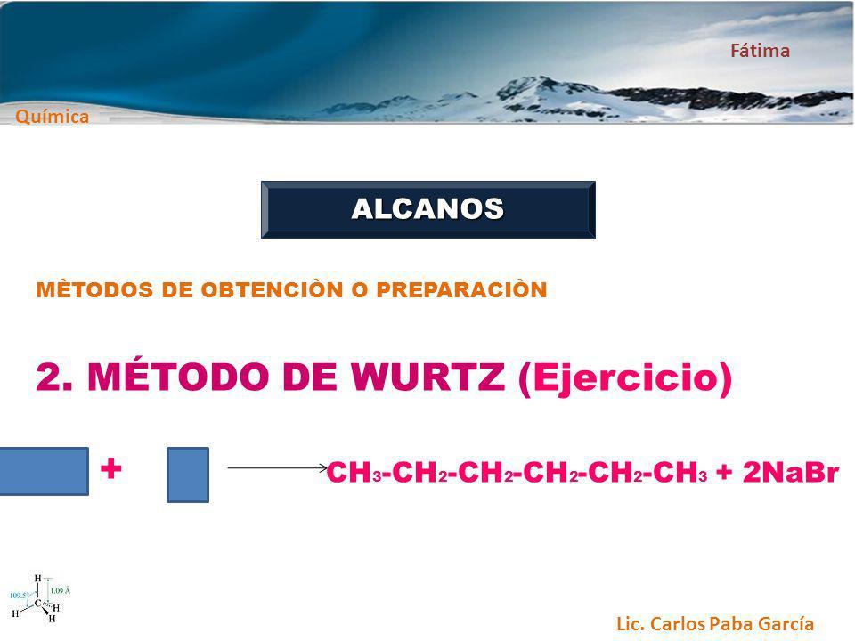 Química Fátima Lic. Carlos Paba García ALCANOS MÈTODOS DE OBTENCIÒN O PREPARACIÒN 2. MÉTODO DE WURTZ (Ejercicio) + CH 3 -CH 2 -CH 2 -CH 2 -CH 2 -CH 3
